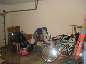 Another wall of unpacked items - pardon the flash fom the bike reflector.